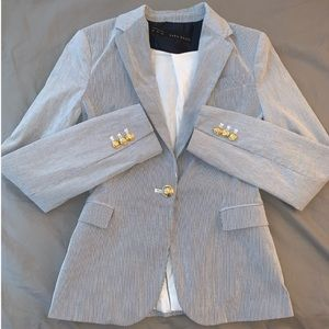 Zara Light Blue / Grey / White Striped Blazer